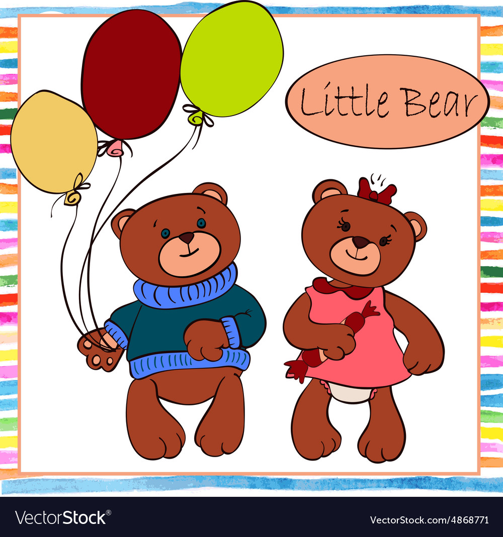 Two little boys clipart banner transparent stock Two little boy and girl bear banner transparent stock