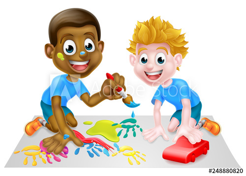 Two little boys clipart svg freeuse stock Two little boys, one black and one white, having fun playing ... svg freeuse stock
