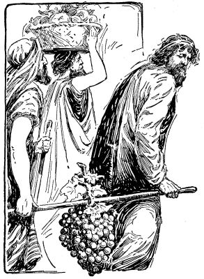 Two men carrying grapes black and white clipart clip transparent The Project Gutenberg eBook of The Wonderbook of Bible ... clip transparent