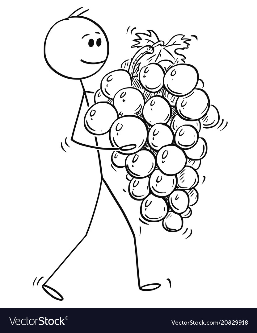 Two men carrying grapes clipart png black and white download Cartoon of man carrying big ripe bunch or grapes vector image png black and white download