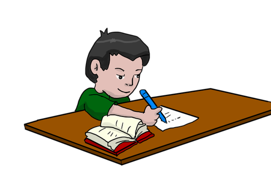 Two people doing homework clipart