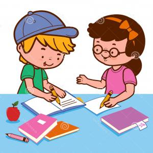 Two people doing homework clipart royalty free Two Caucasian Children Doing Homework Together Brother ... royalty free