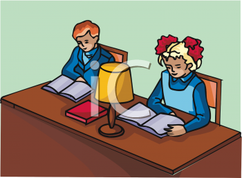 Two people doing homework clipart picture royalty free stock Clipart Picture of Two Children Studying at a Desk picture royalty free stock