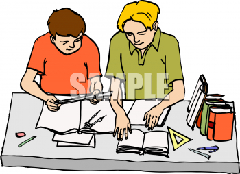 Two people doing homework clipart clip library stock Clipart Image of Two Boys Doing Homework clip library stock