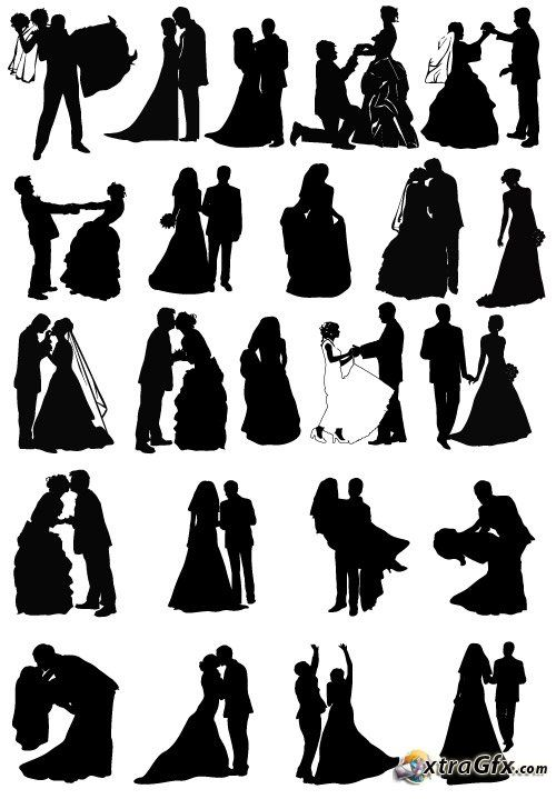 Two people kissing clipart wedding clipart free stock wedding silhouette | Wedding couples silhouettes (vector ... clipart free stock
