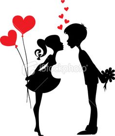 Two people kissing clipart wedding picture free library First Kiss Clipart Image: Silhouette of a First Kiss | Silhouettes ... picture free library