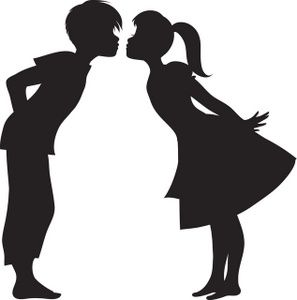 Two people kissing clipart wedding jpg black and white download First Kiss Clipart Image: Silhouette of a First Kiss | Silhouettes ... jpg black and white download