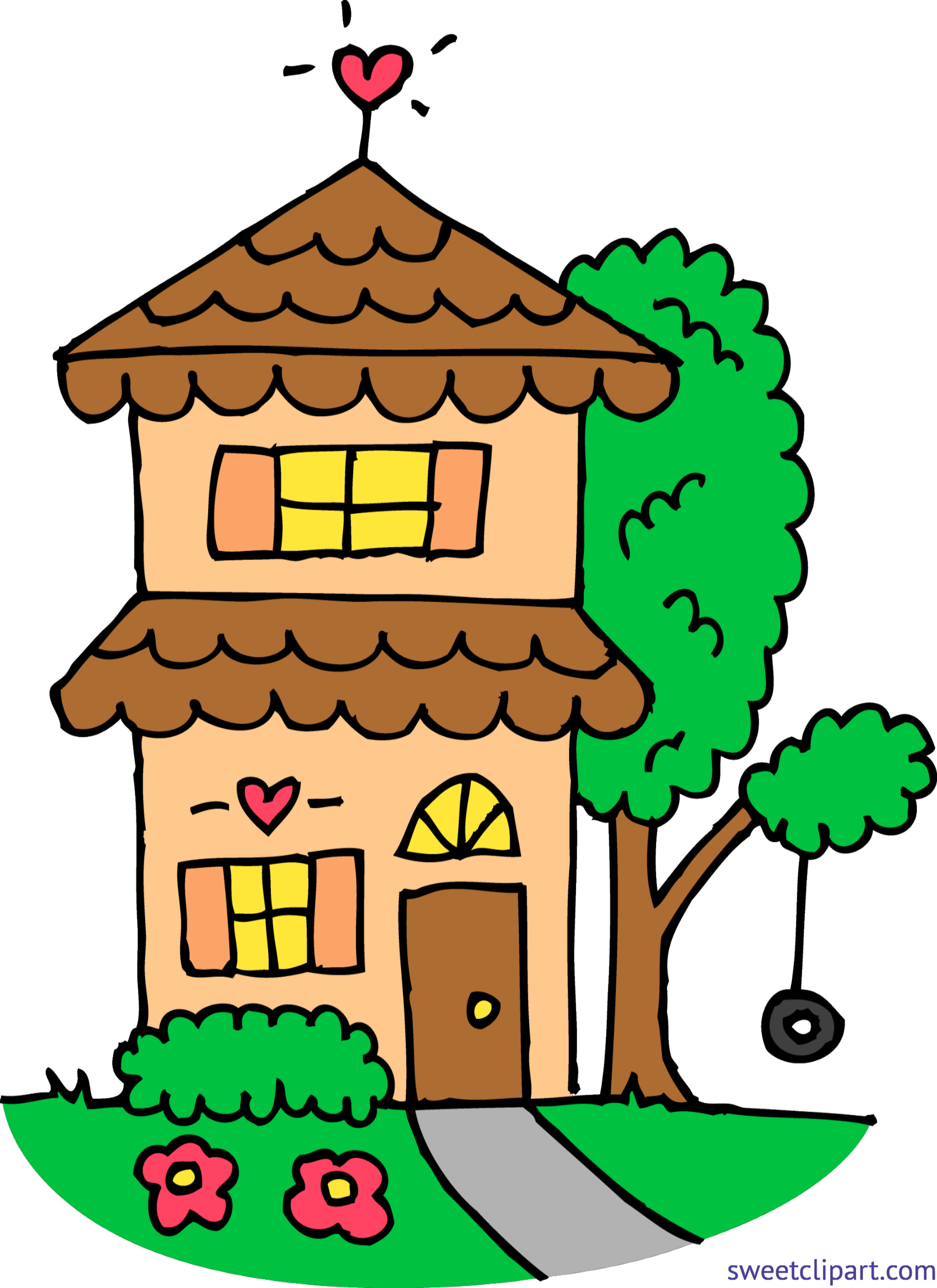 Two story house clipart png library download Cute Orange Two Story House Clip Art - Sweet Clip Art png library download