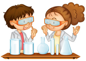 Two students working together clipart image free Illustration of two students working in a science lab ... image free