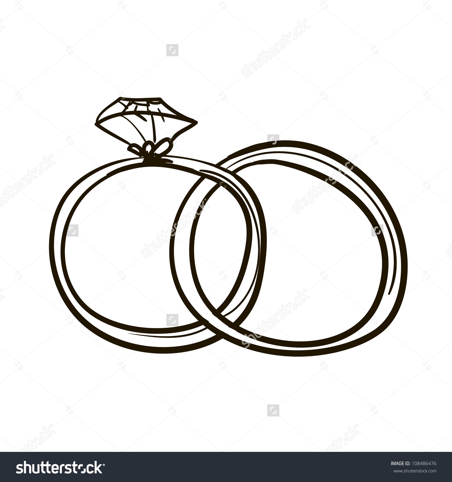 Two wedding rings clipart png free library Two Wedding Rings Childrens Sketch Stock Vector 108486476 ... png free library
