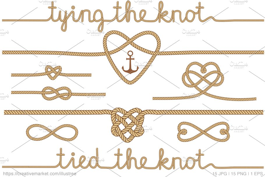 Tying the knot clipart svg free Tying the knot, beige vector set svg free
