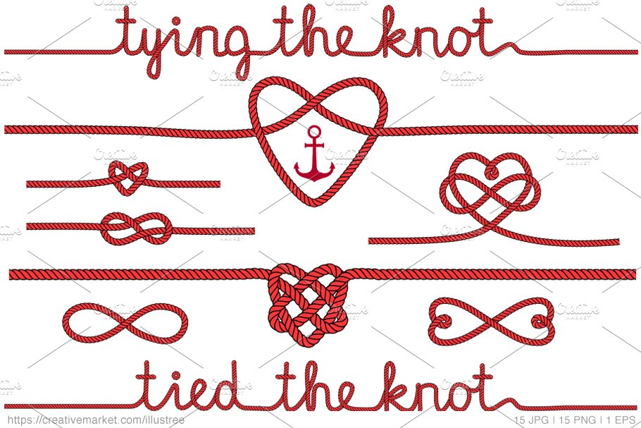 Tying the knot clipart clip art black and white Tying the knot, red vector set clip art black and white