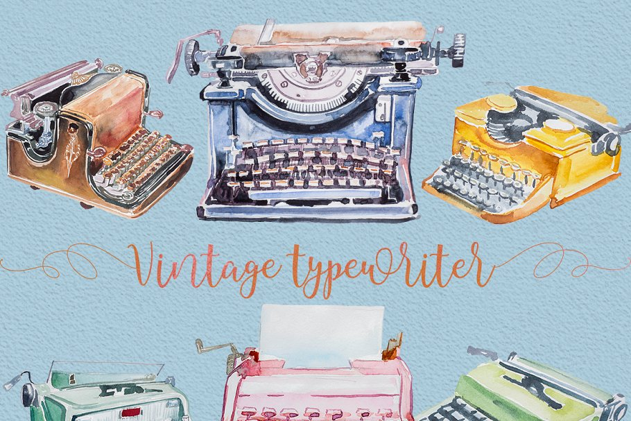 Watercolor typewriter clipart jpg free library Watercolor Typewriter Clipart jpg free library
