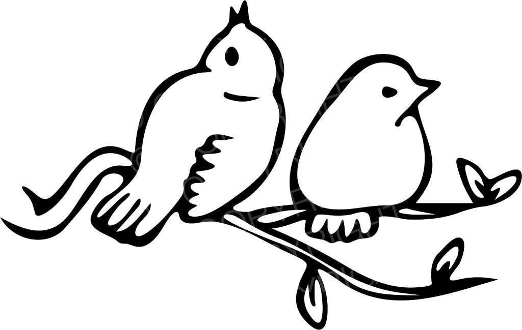 Types of birds clipart black and white clipart library stock Black & White Line Drawing of Two Birds on a Branch Prawny ... clipart library stock