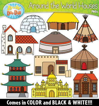 Types of houses clipart svg freeuse library Around the World Houses Clipart Set {Zip-A-Dee-Doo-Dah Designs} svg freeuse library