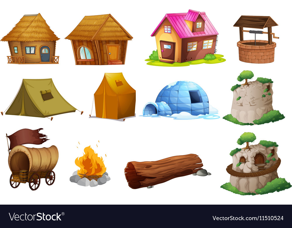 Types of houses clipart vector library library Different types of accommodations vector library library