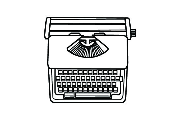 Typewriet clipart black and white download Vintage Typewriter Clipart Images in Line Drawings black and white download
