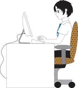 Typing in computer clipart banner freeuse stock People Clipart Image - Boy Typing at a Computer banner freeuse stock