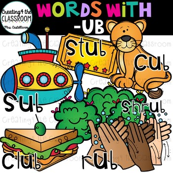 Ub clipart banner freeuse stock Words with -ub {Word Family Clip Art} banner freeuse stock