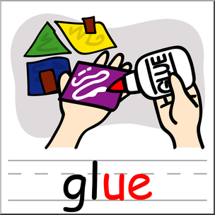 Ue logo clipart clip art black and white Clip Art: Basic Words: -ue Phonics: Glue Color I abcteach ... clip art black and white