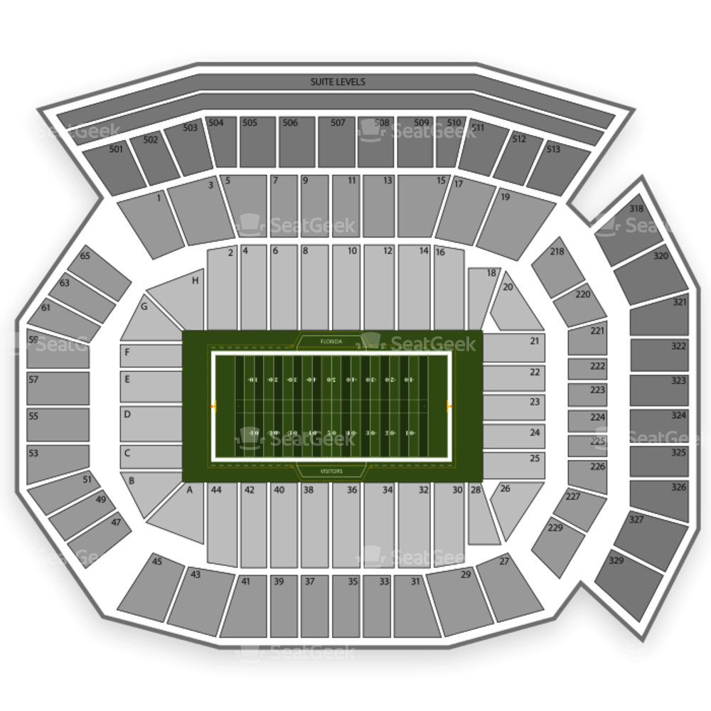 Uf football field clipart banner freeuse stock Ben Hill Griffin Stadium Seating Chart | SeatGeek banner freeuse stock