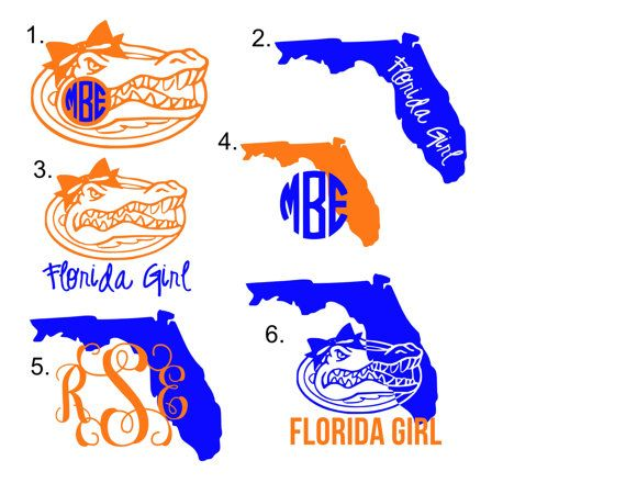 Uf football jersey clipart picture black and white stock Florida Gator Monogram Decal by OverTheTopOccasions on Etsy ... picture black and white stock