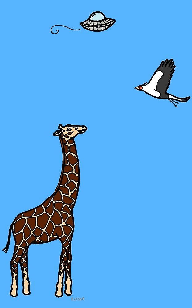 Ufo clipart with a giraffe in it free library Flying Saucer, Secretary Bird and Giraffe\