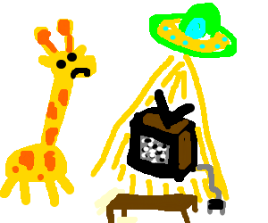 Ufo clipart with a giraffe in it stock cheese watching tv - Drawception stock