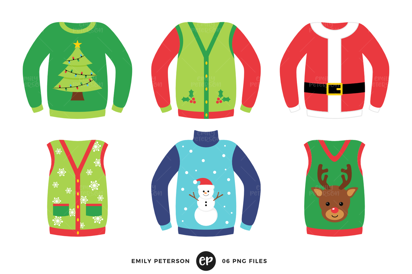 Ugly christmas sweater aqua clipart graphic freeuse Ugly Christmas Sweaters Clipart By Emily Peterson Studio ... graphic freeuse