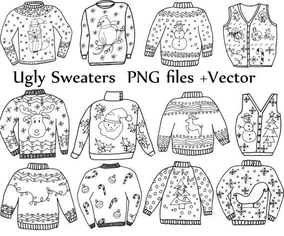 Ugly sweater patterns clipart black and white banner free library Ugly Sweater ClipArt: \