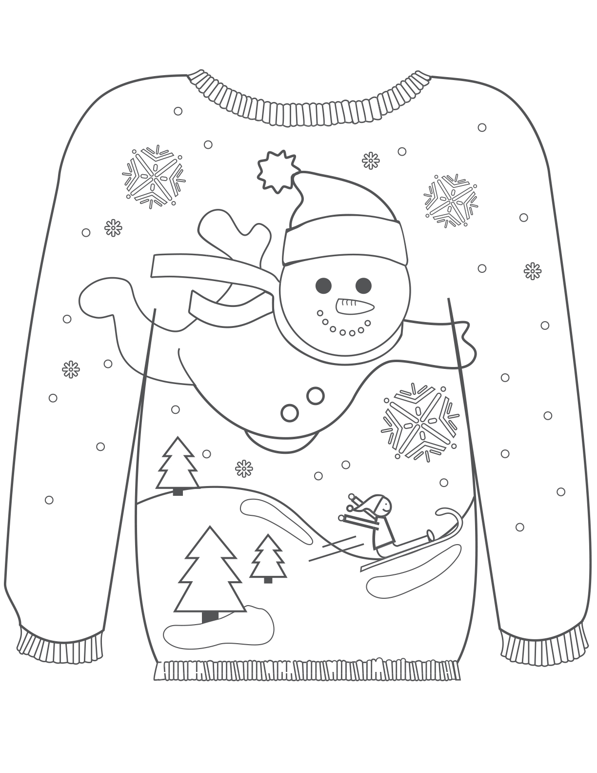 Ugly christmas sweater clipart black and white graphic free library Coloring Sheets - Ragstock graphic free library
