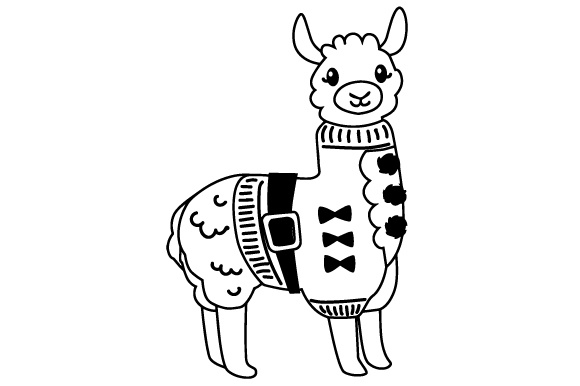 Ugly christmas sweater clipart black and white picture free stock Llama with Ugly Christmas Sweater picture free stock