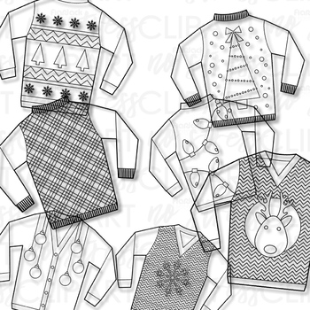 Ugly christmas sweater clipart black and white picture free Ugly Christmas Sweaters Clip Art (Digital Use Ok!) picture free