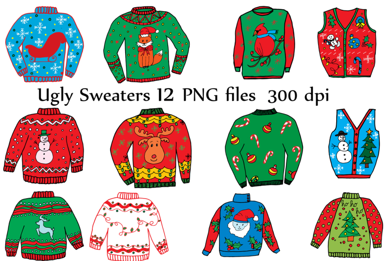 Ugly christmas sweater free clipart clipart black and white library Free Ugly Christmas Sweater Clipart Crafter File - All ... clipart black and white library