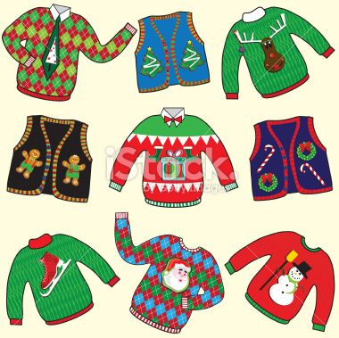 Ugly christmas sweater free clipart graphic library stock Dare to wear ugly Christmas Sweaters clipart. Great for your ... graphic library stock