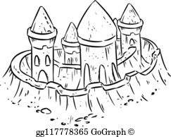 Ugly sand castle clipart black and white free Royalty Free Sand Castle Vectors - GoGraph free