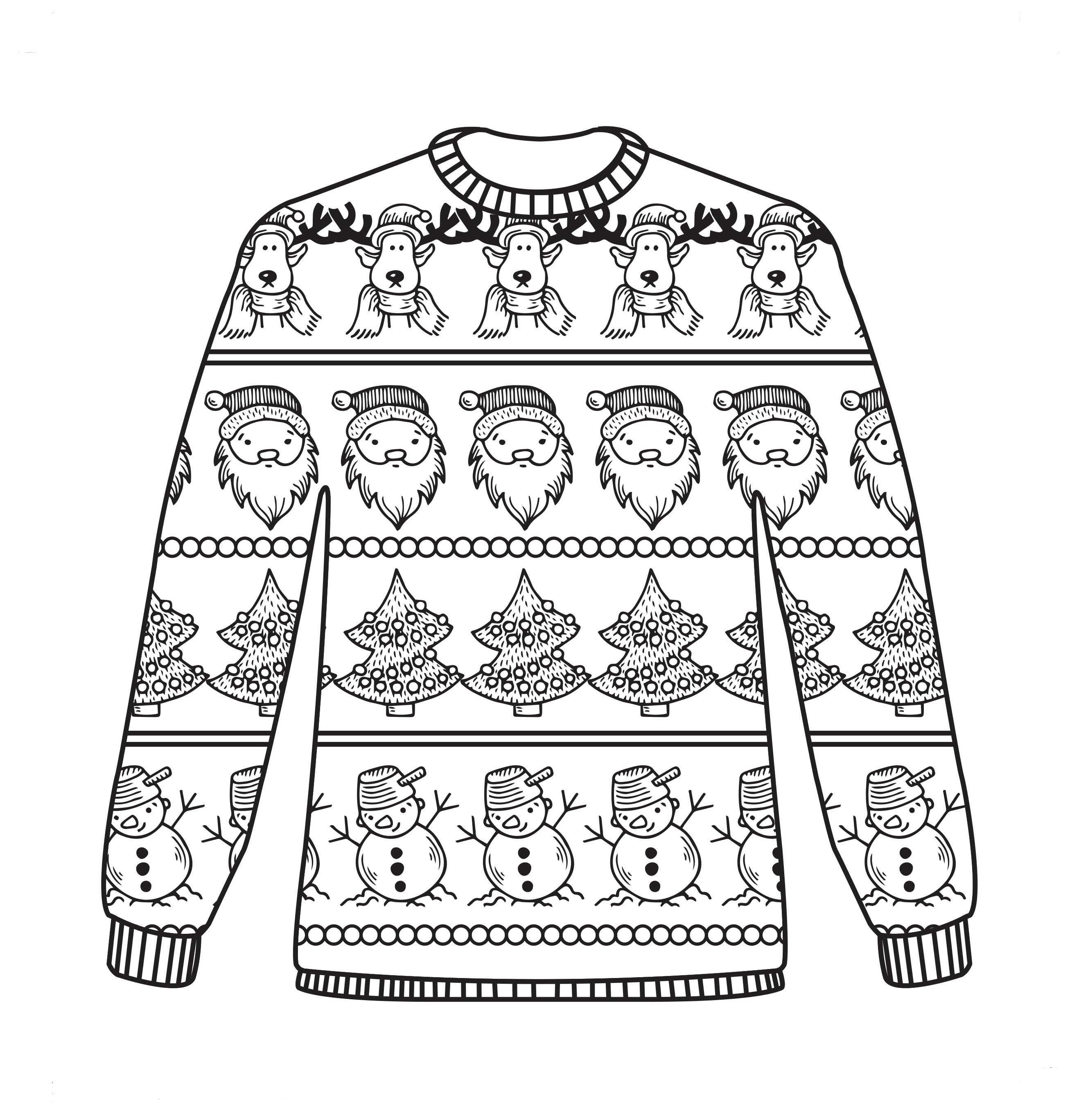Ugly sweater patterns clipart black and white graphic Free Christmas colouring sheets! | Coloring Pages (Fashion ... graphic