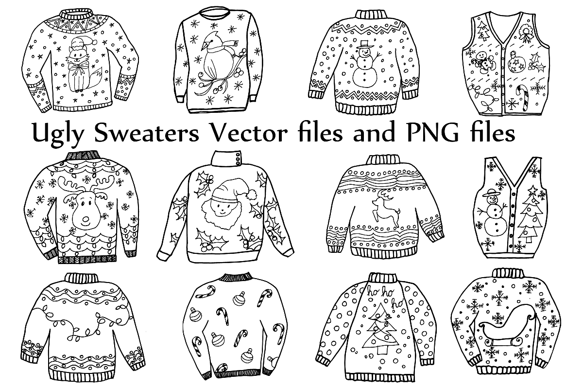 Ugly sweater patterns clipart black and white clipart stock Ugly Sweater ClipArt and Vector clipart stock