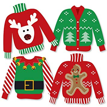 Tacky holiday sweater clipart clipart transparent Ugly Sweater - Sweater Decorations DIY Holiday & Christmas Party Essentials  - Set of 20 clipart transparent