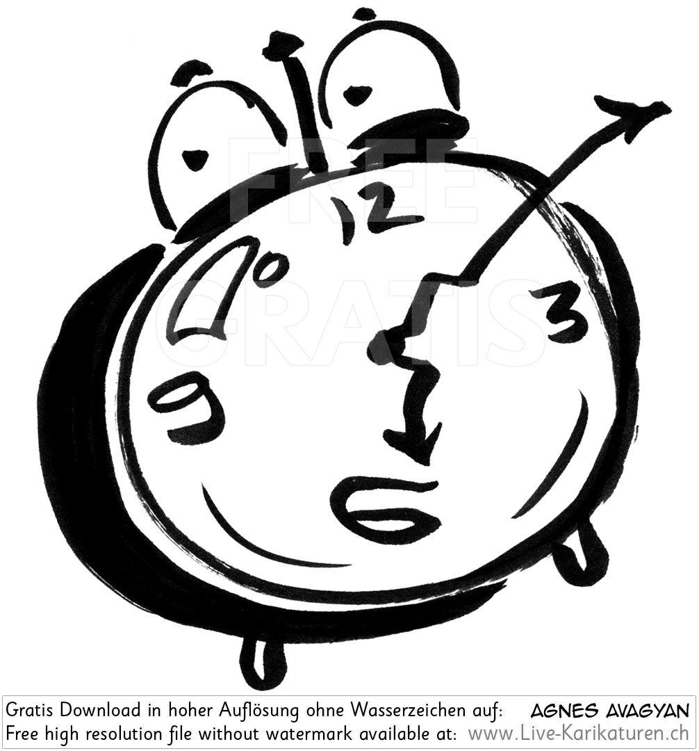 Uhr clipart kostenlos vector free Wecker 6 Uhr Augen Zeiger verbogen - Agnes Live-Karikaturen ... vector free