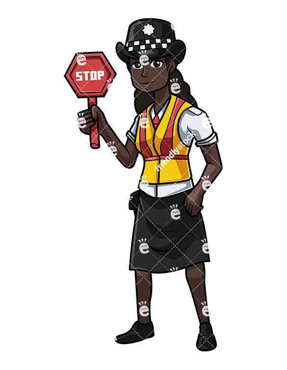 Uk policeman clipart vector free download British Black Police Woman Holding A Stop Sign   Vector ... vector free download
