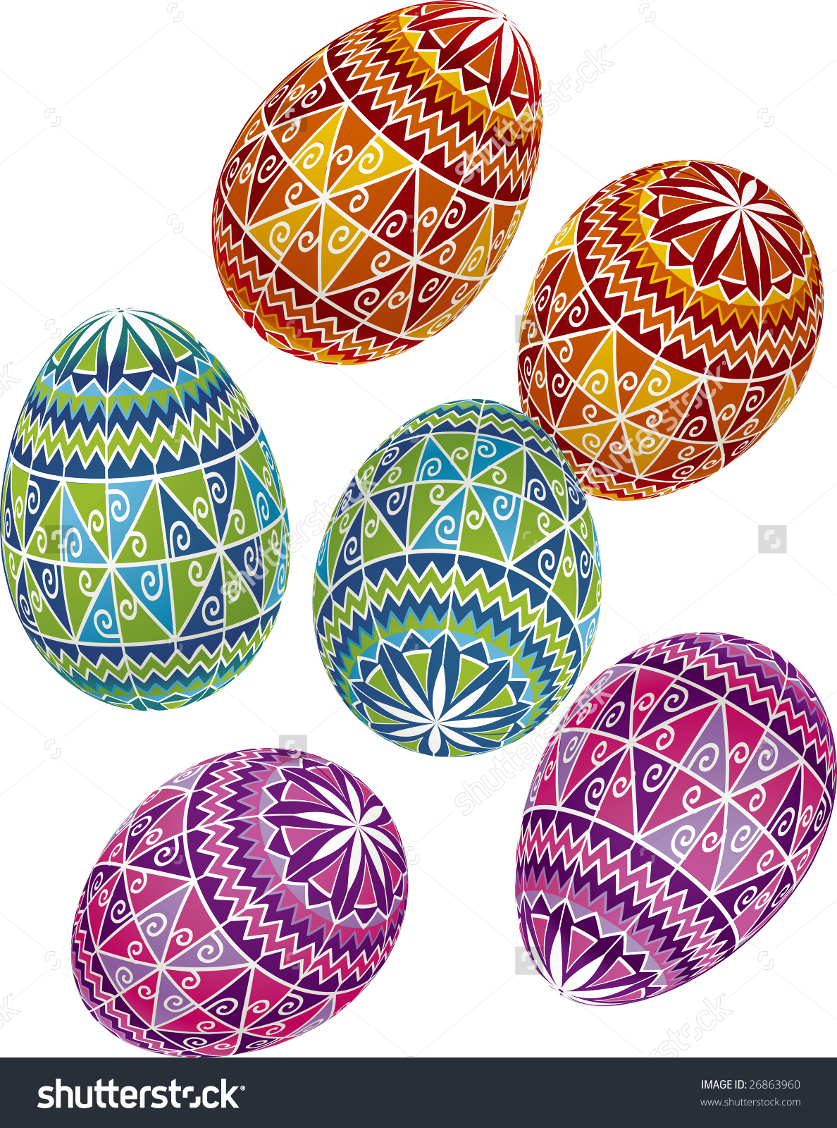 Ukranian easter egg clipart vector transparent library Vector Illustration Bright Painted Easter Eggs Stock Vector ... vector transparent library