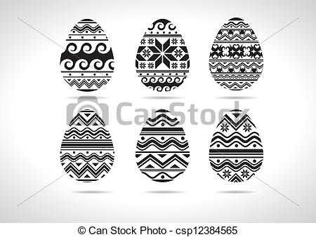 Ukranian easter egg clipart download Clip Art Vector of Easter egg ukrainian B/W - set csp12384565 ... download