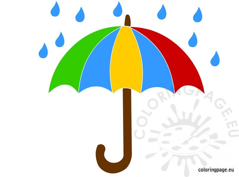 Umbrella and rain clipart banner royalty free download Umbrella and rain Clipart – Coloring Page banner royalty free download