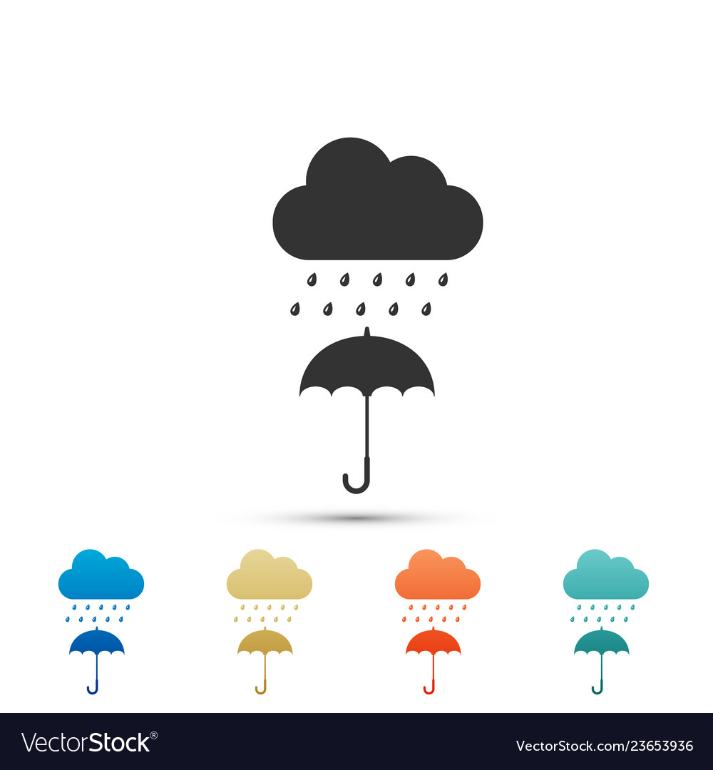 Umbrella and rain clipart vector graphic black and white stock Cloud with rain drop on umbrella icon isolated graphic black and white stock