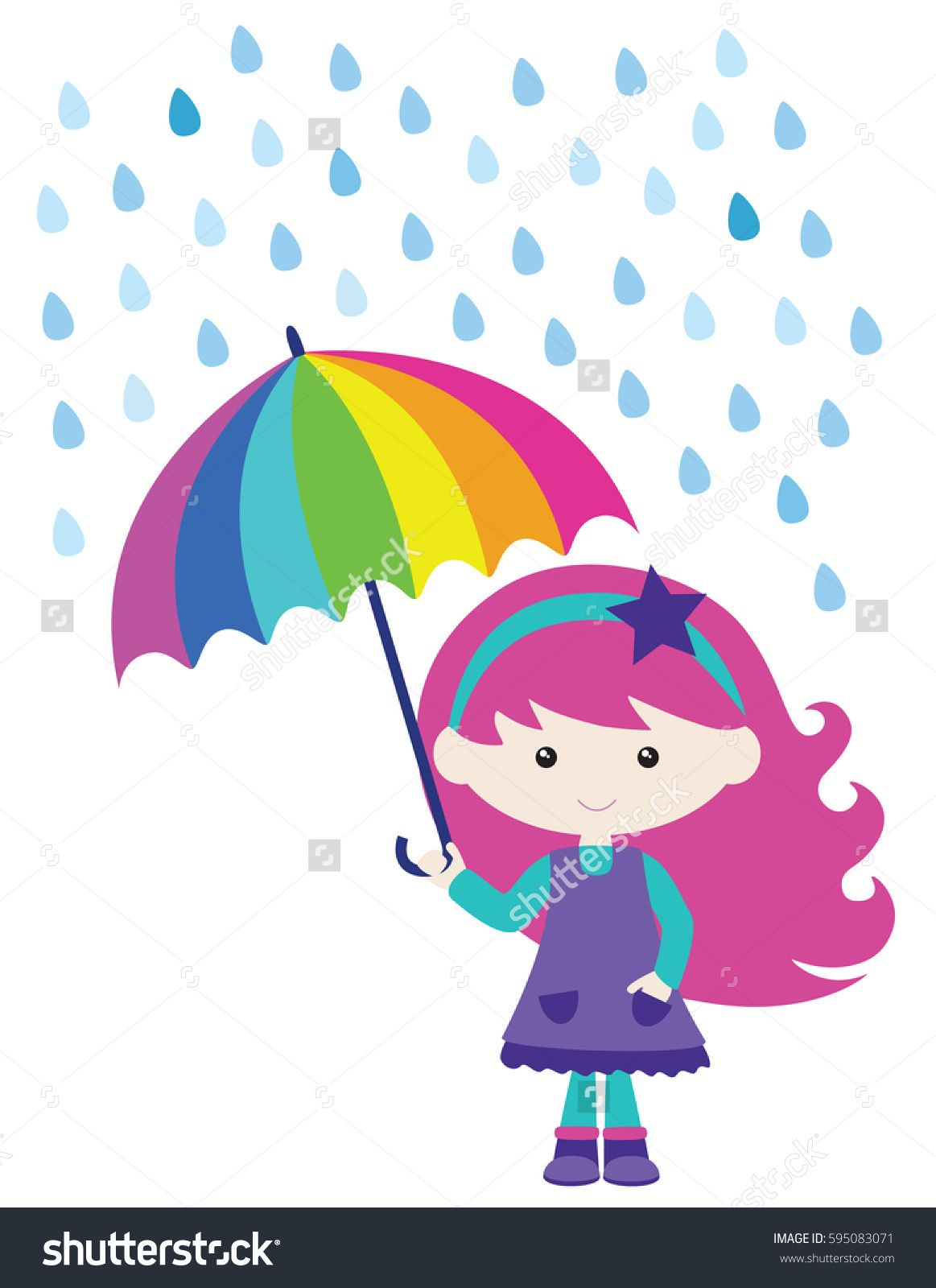 Umbrella and rain clipart vector png transparent library Cute Girl in Rain with Umbrella Vector Illustration ... png transparent library