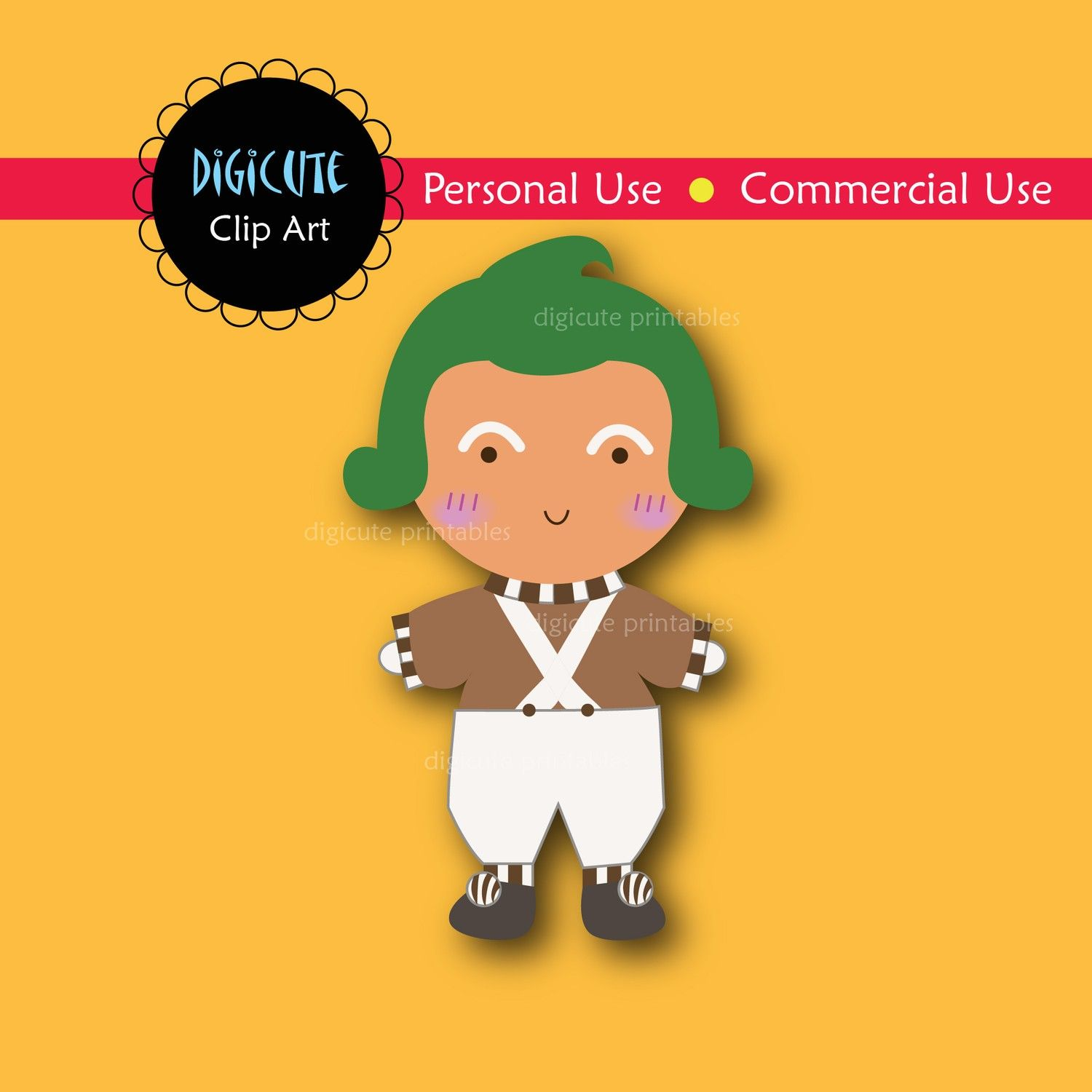 Umpa lumpa charlie and the chocolate factory cartoon clipart clip black and white stock Oompa Loompa from Charlie and the Chocolate Factory Digital ... clip black and white stock