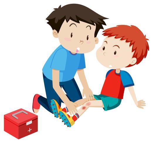 Un aid clipart graphic free stock Un homme aidant un garçon premiers secours Vecteur ... graphic free stock