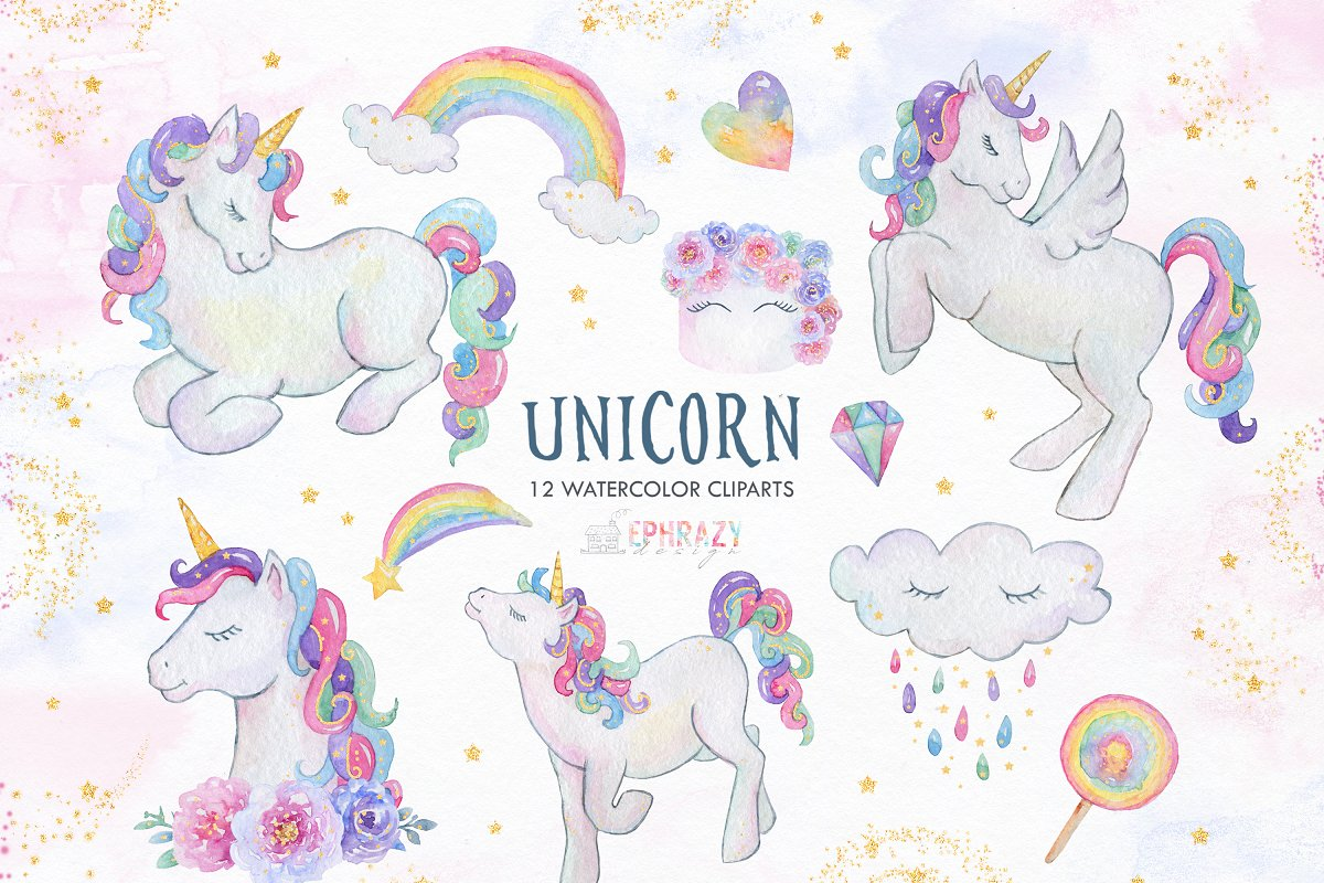 Unicorn watercolor clipart png free library Unicorn clipart. Watercolor png free library