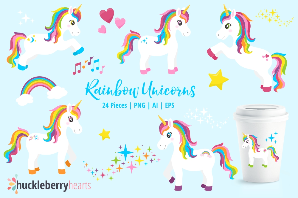 Unicoen clipart png freeuse Rainbow Unicorn Clipart png freeuse
